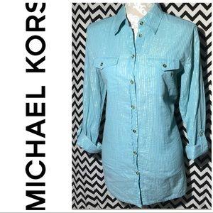 MK Micheal Kors blue button down tunic
